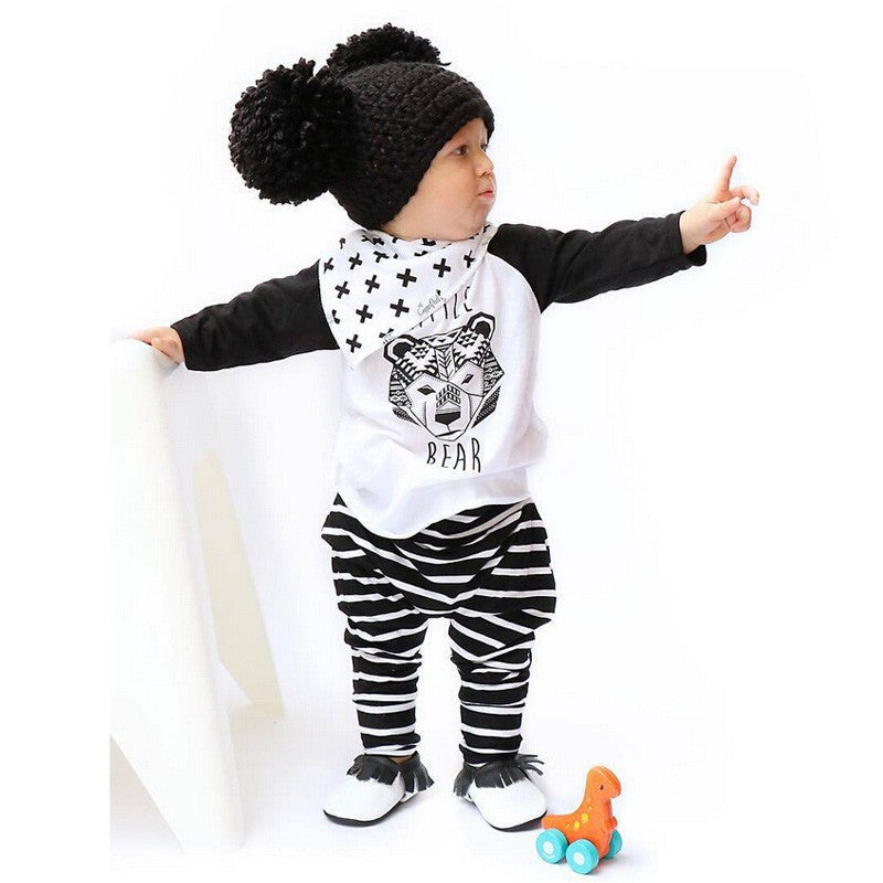 2pc Baby T shirt+Pants Outfit Suit Newborn Sports Suit Clothing Sets - Bear