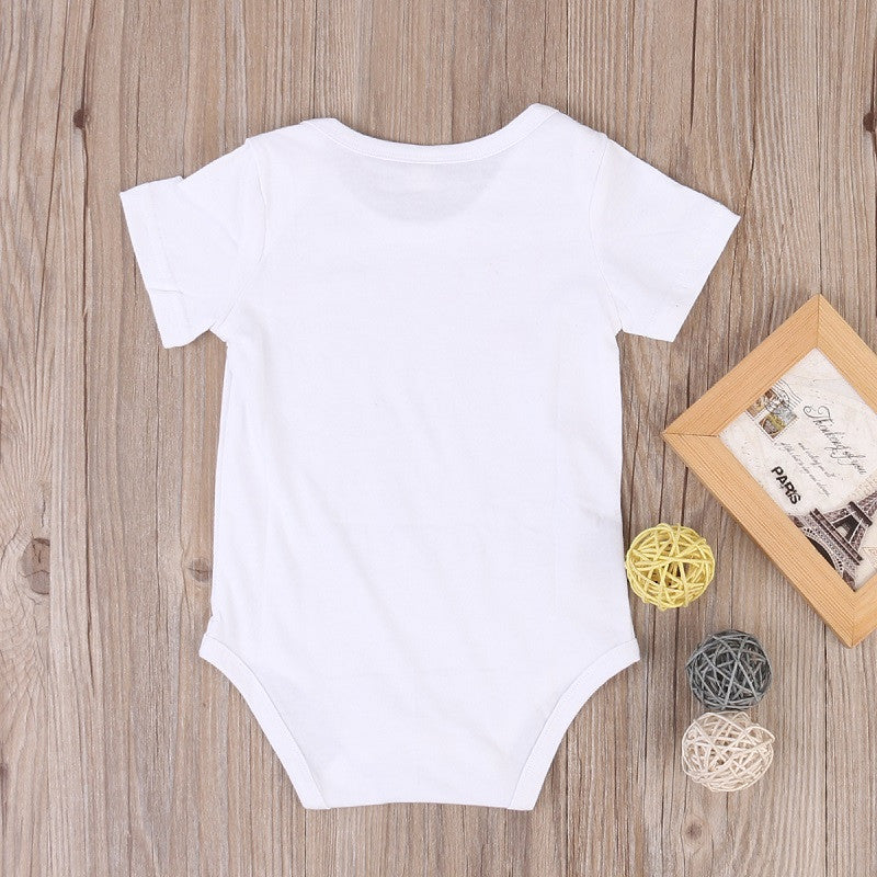 Cute Baby Girl Cotton Jumpsuit Pink Letter Bodysuit Newborn White Outfit 0-12M