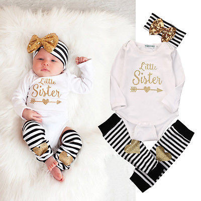 3pcs Newborn Baby Girl Infant Bodysuit + Stockings + Headband Jumpsuit Coming Home Clothes Outfit Set
