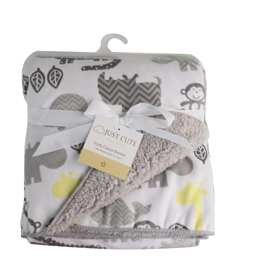 Luxurious Soft Fleece Baby Blanket - Grey/Yellow Animal