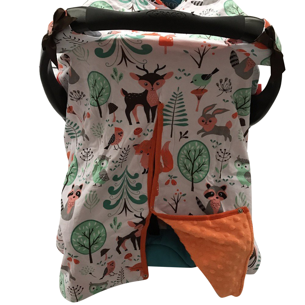MINKY LINED CAR SEAT CANOPY/COVER - Fox