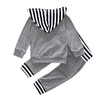 Baby Boy Striped Hoodie + Jogger Pant Outfit - 2 Piece Set Black/White Grey