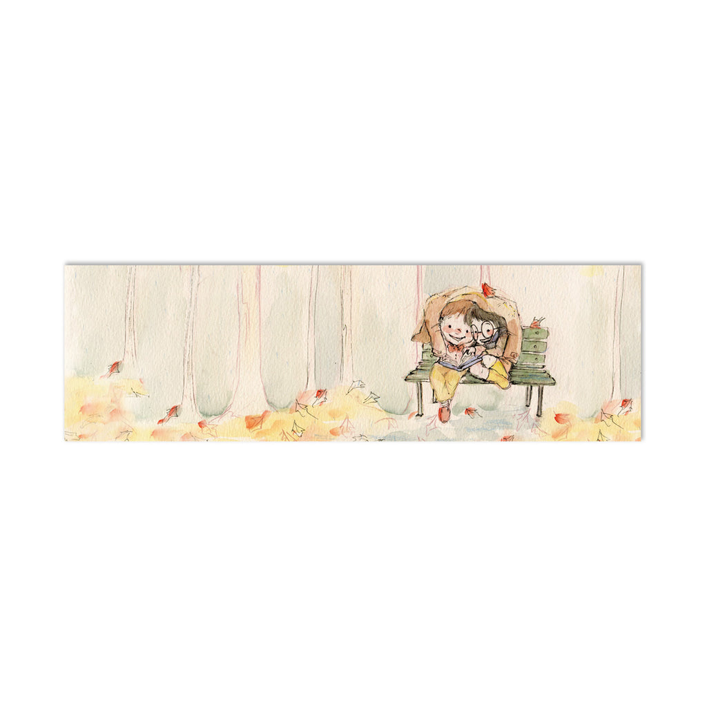 Reading in Autumn Canvas Bookmark