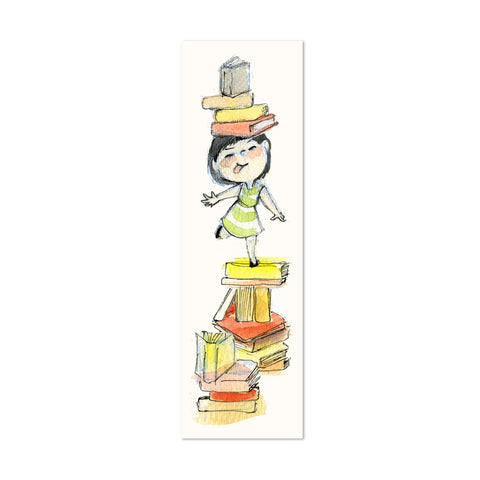 Girl Balancing Books Canvas Bookmark