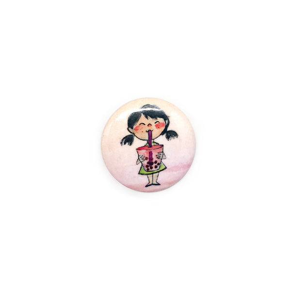 Pigtails Boba Girl Button/Magnet