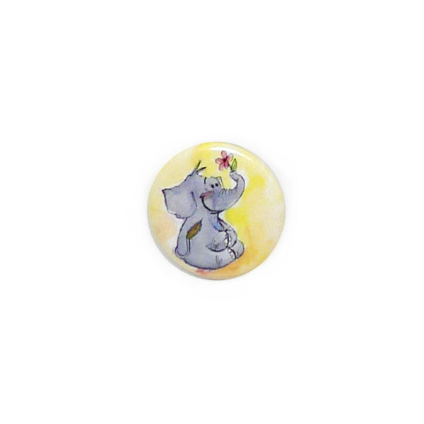 Elephant & Flower Button/Magnet