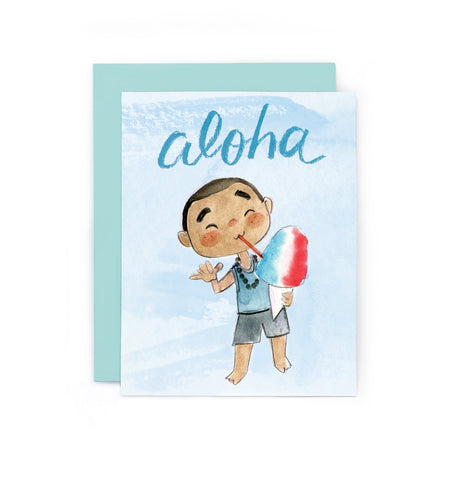 Aloha Shaved Ice Boy Card
