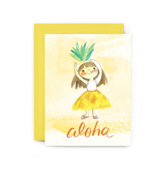 Aloha Pineapple Girl Card