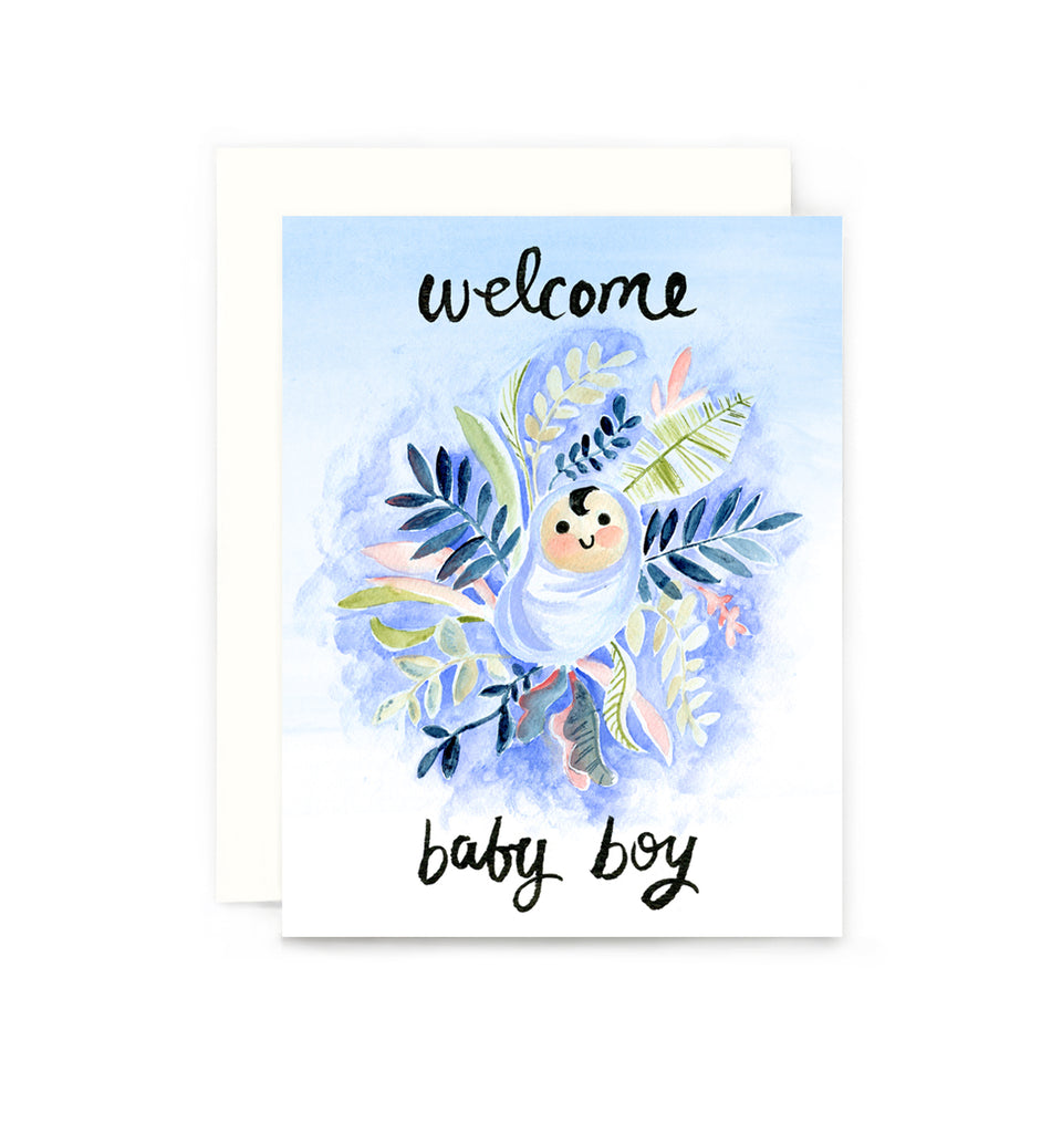 Welcome Baby Boy Greeting Card