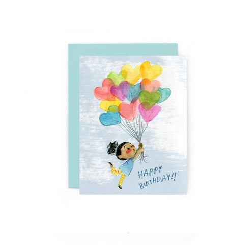 Birthday Balloons Girl Card