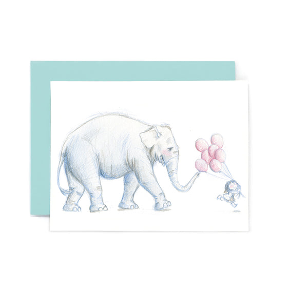 Elephant and Birthday Balloons Card