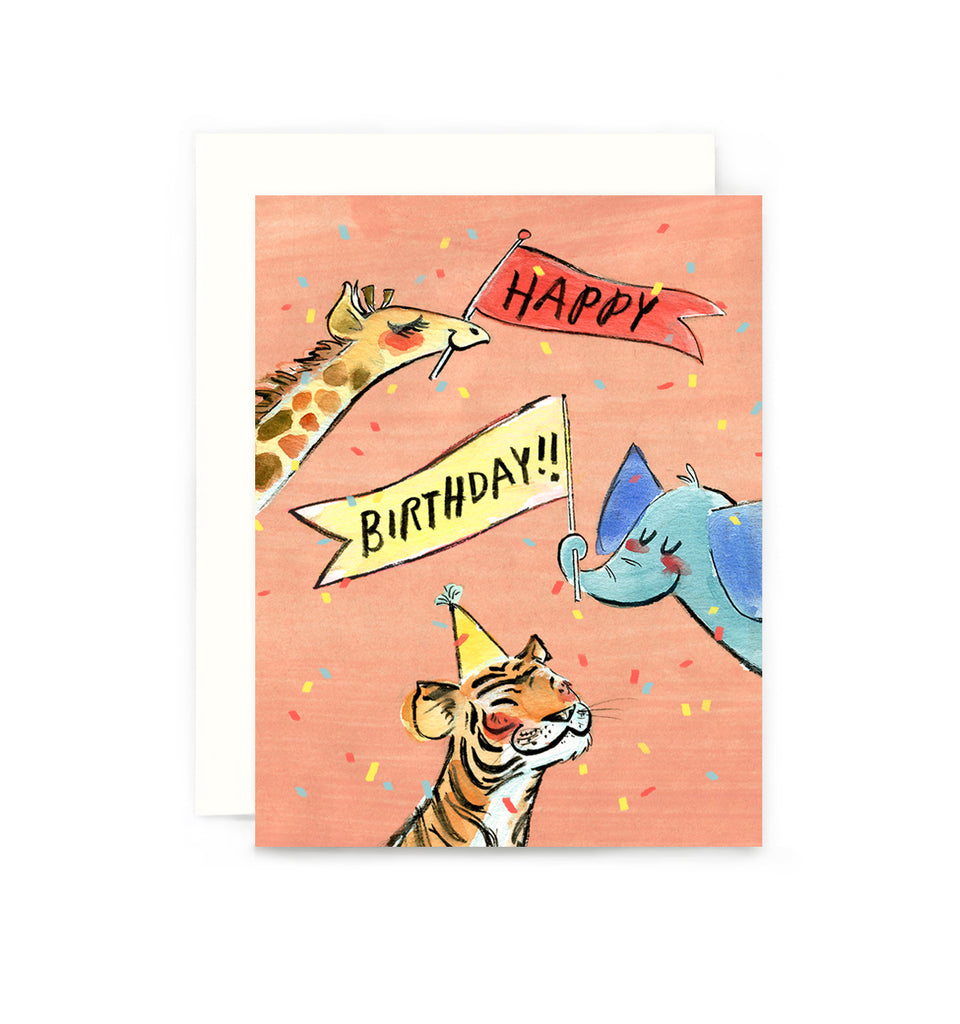 Birthday Party Animals Card