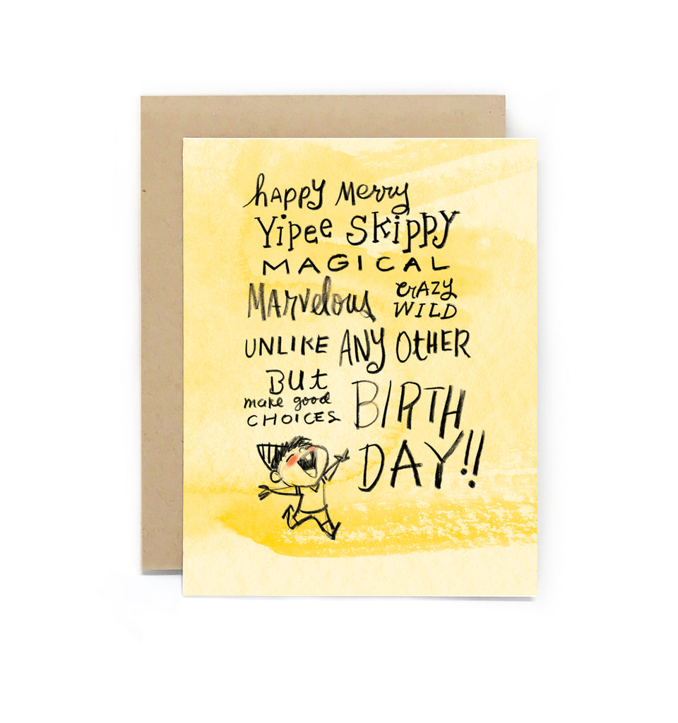 Yipee Skippy Birthday Boy Greeting Card