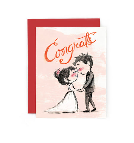 Eskimo Kiss Wedding Card