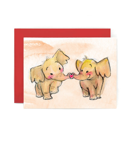 Kissing Elephants Greeting Card