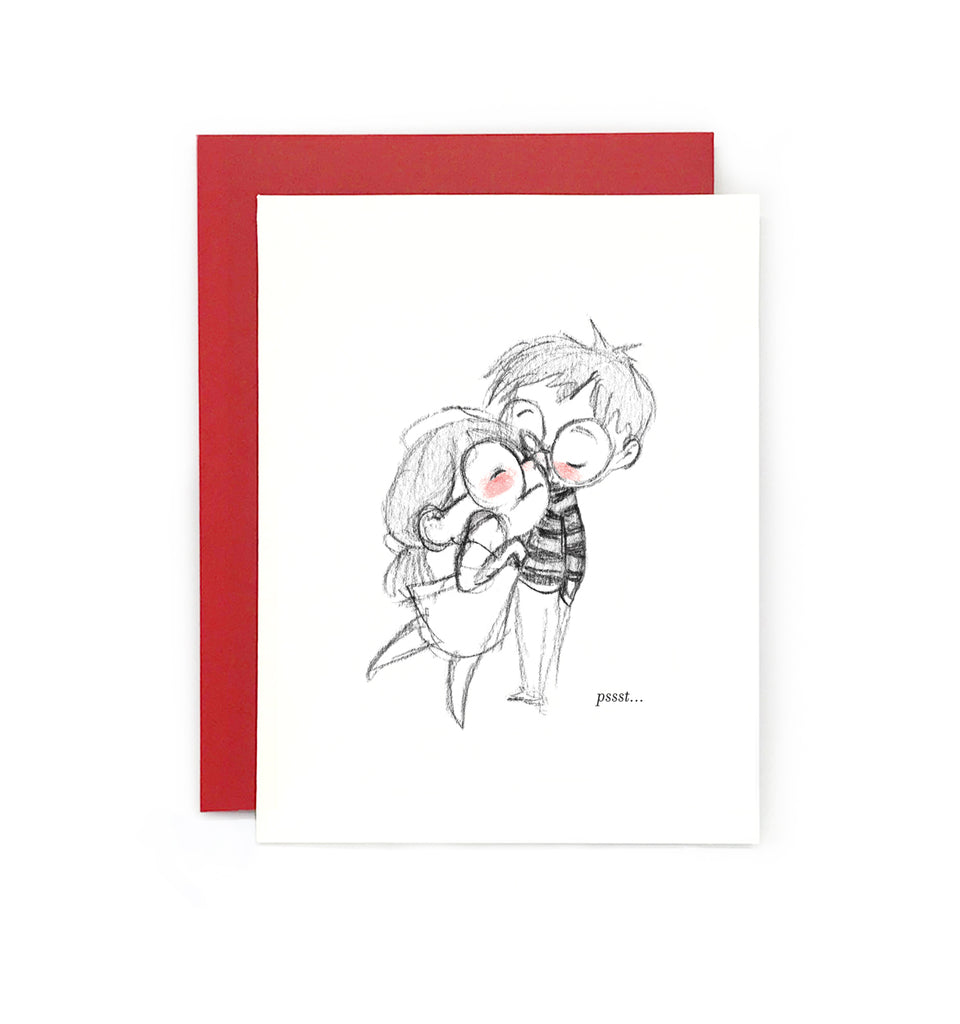 Pssst I Love You Greeting Card