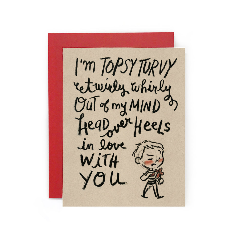 Topsy Turvy Head Over Heels Boy Card