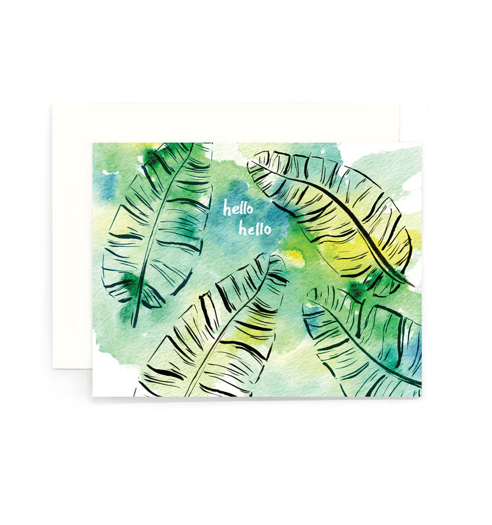 Hello Hello Banana Leaves Greeting Card