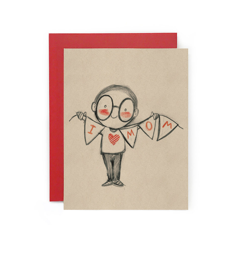 I Love Mom (boy) Bunting Greeting Card