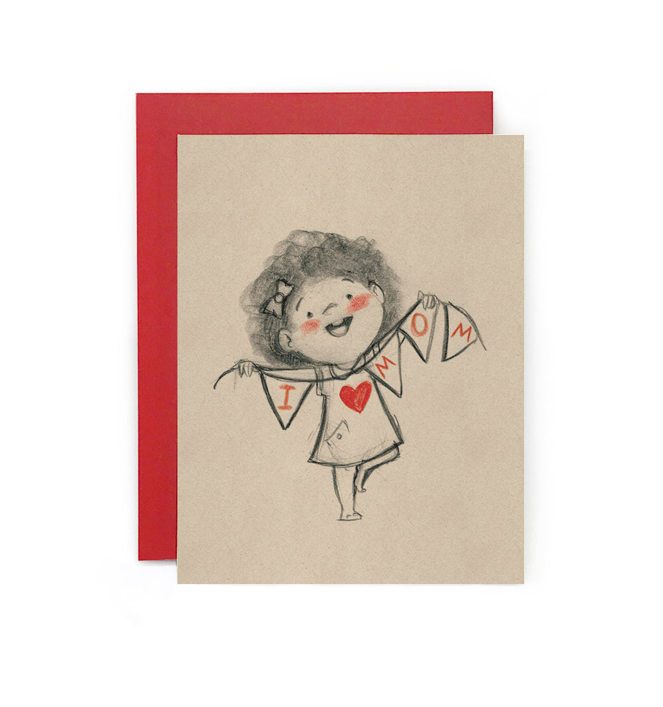 I Love Mom (Girl) Bunting Greeting Card