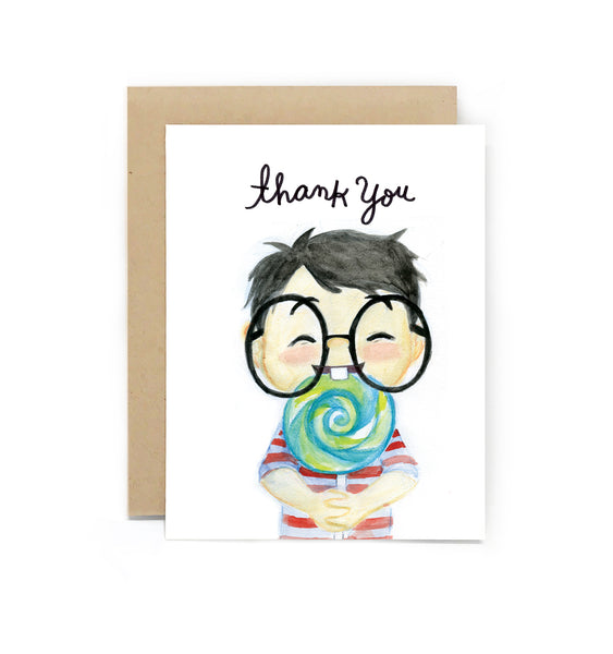 Sweet Tooth Lolipop Thank You Card