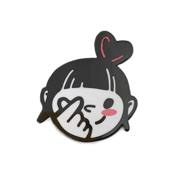 Heart Fingers Bun Head Girl Enamel Pin