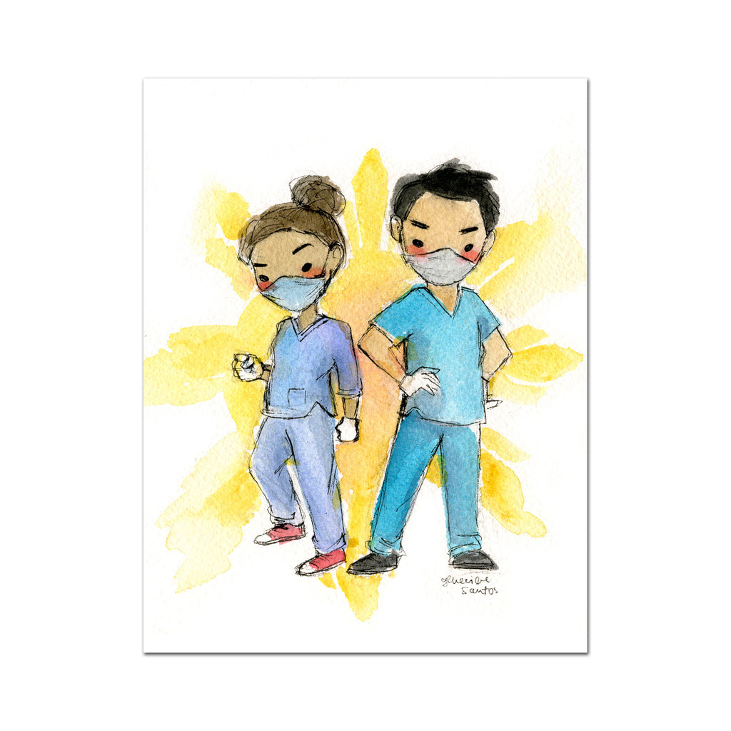 Covid-19 Mini Art Print - Healthcare Workers