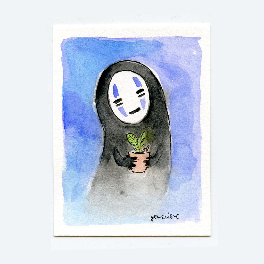 No Face and a Potted Plant Original Art