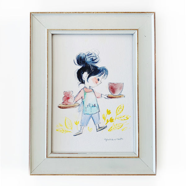 Ceramics Girl Framed Original Art