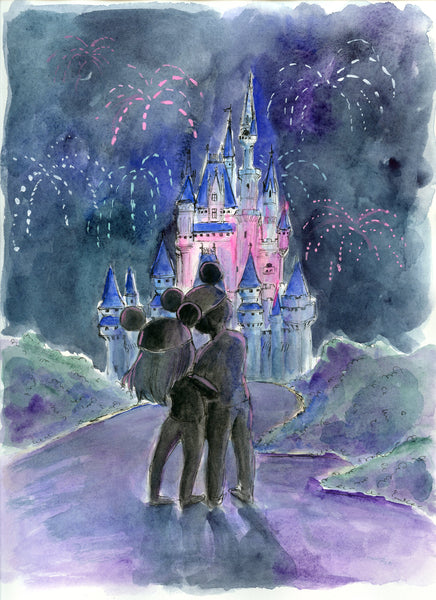 Fireworks over the Magic Castle Original Art