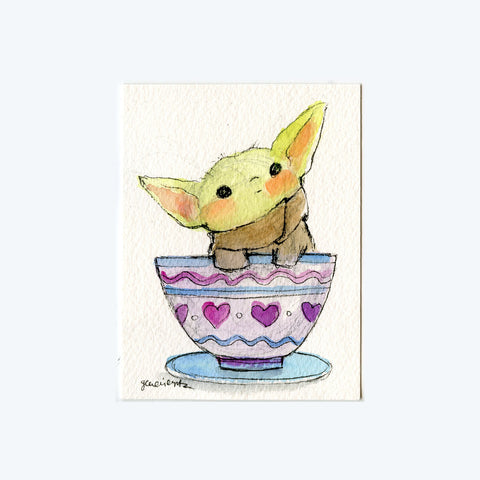 Tea Cup Baby Yoda Original Art