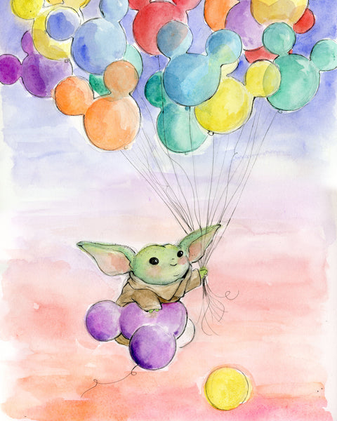 The Child and Balloons Original Art