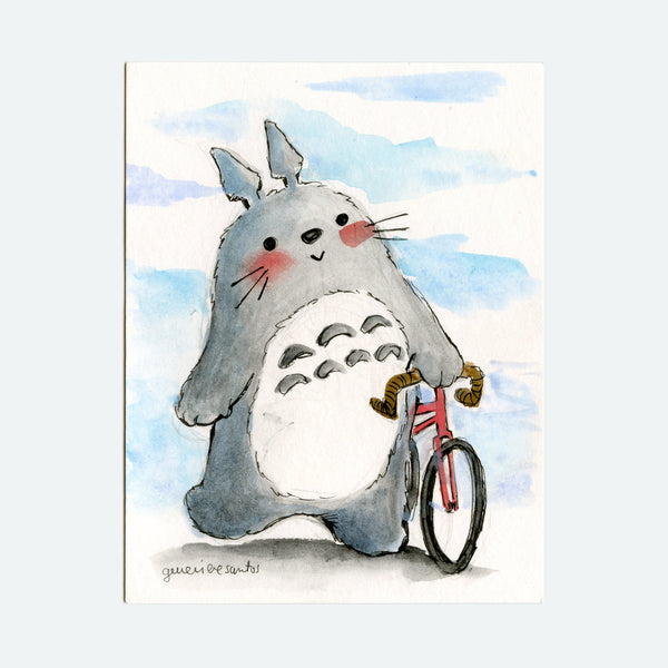 Bicycling Totoro Original Painting