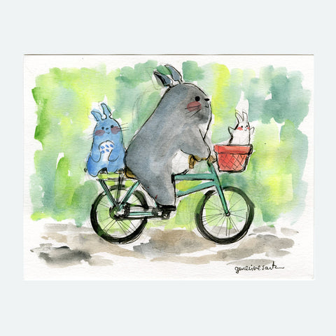 Bicycling Totoro and Friends Original Painting