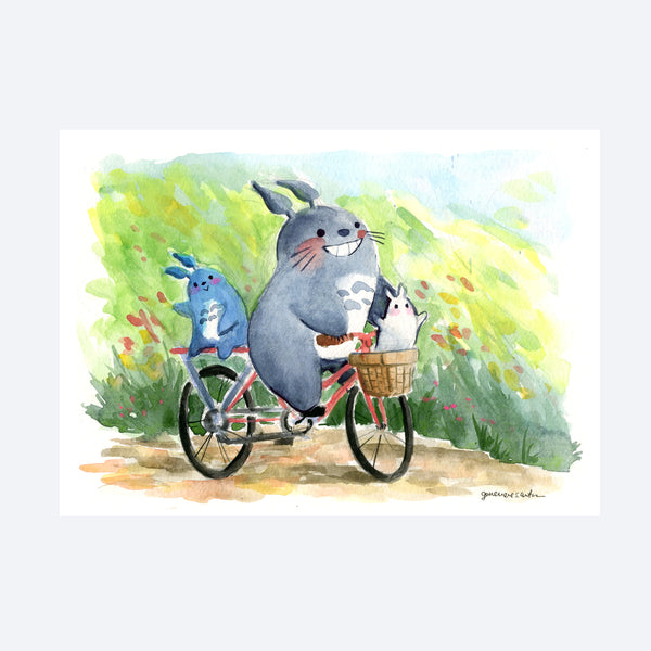 Bicycling Totoros Original Painting