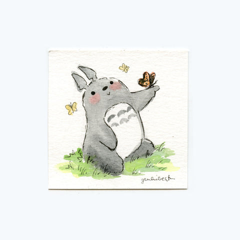 Butterfly and Totoro Original Painting