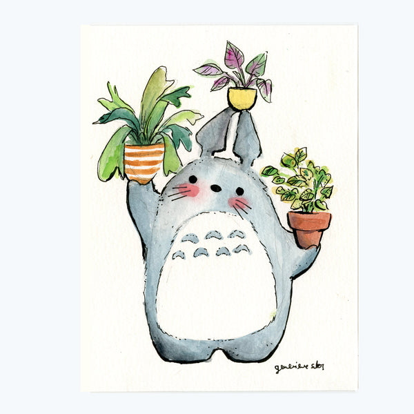 Totoro and Plants Original Painting