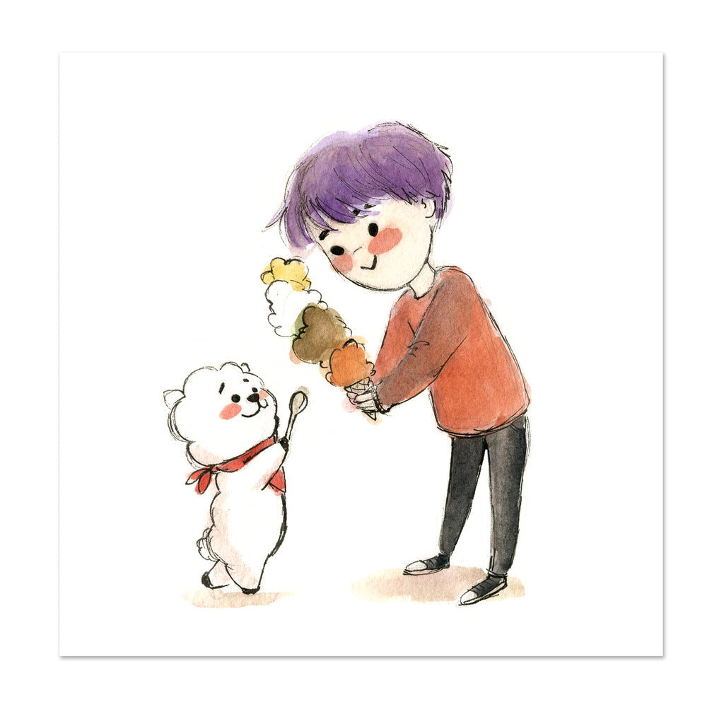 BTS x BT21 Jin and RJ Limited Edition Art Print