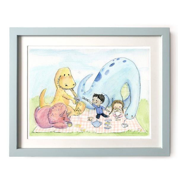 Dinosaur Tea Party Art Print