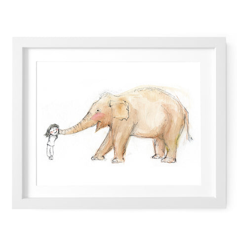 Elephant Kiss Art Print
