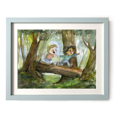 Hiking Boys Art Print
