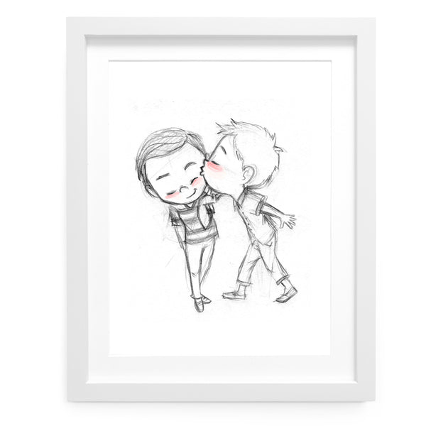 How About A Kiss Art Print