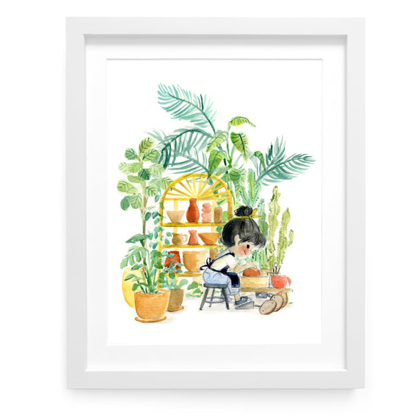 Plants and Pottery Art Print