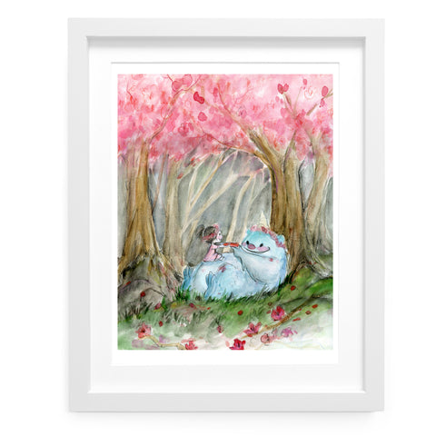 Sakura Kaiju Tea Party Art Print
