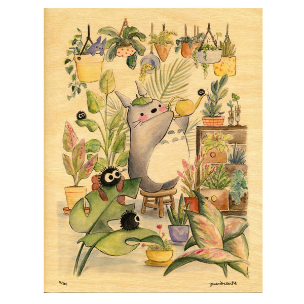 Green Thumb Totoro Limited Edition Wood Print