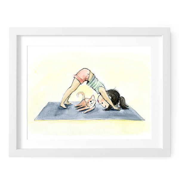 Downward Dog, Silly Kitty Art Print