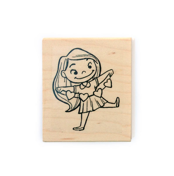 Girl & Hearts Rubber Stamp