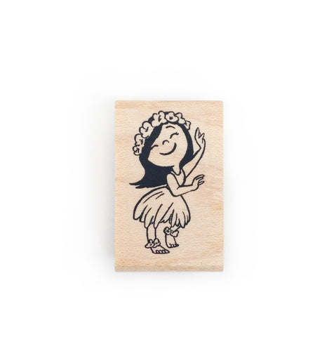 Hula Girl Rubber Stamp