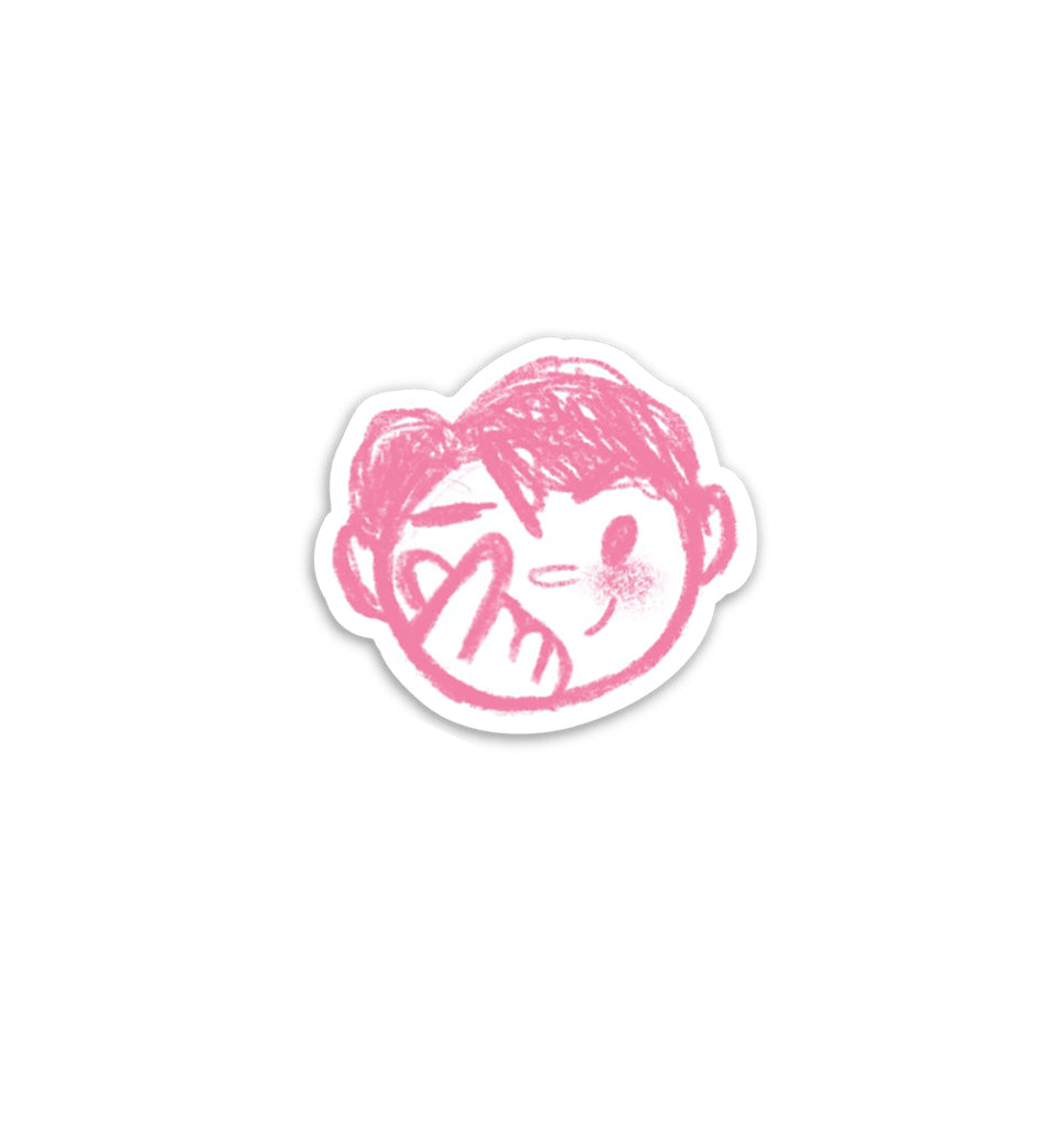 Heart Fingers Boy Vinyl Sticker