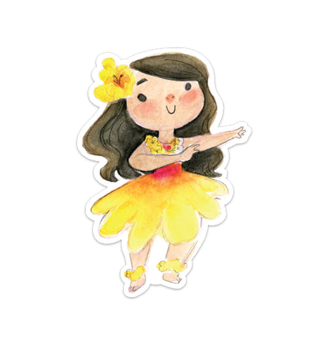 Hula Girl Vinyl Sticker